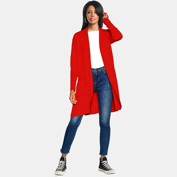 Club 7 Coral Open Front Knitwear Cardigan - Half Front model